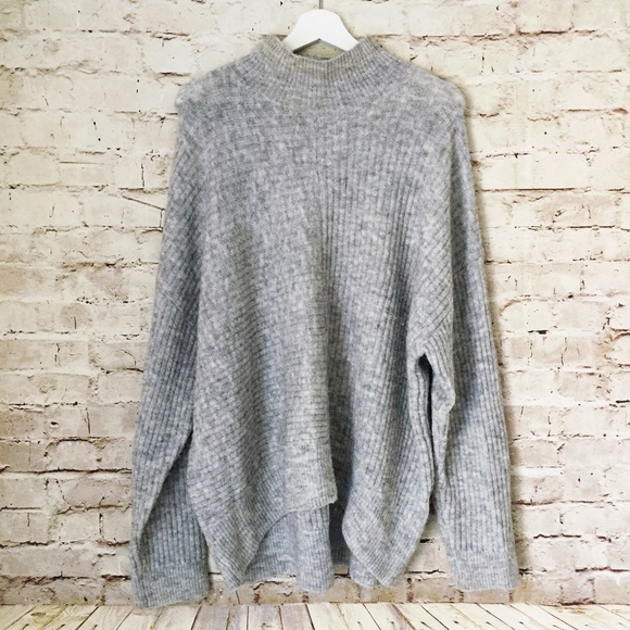 H M Sweaters - H M oversized mock turtleneck sweater large gray 21a25c4d5